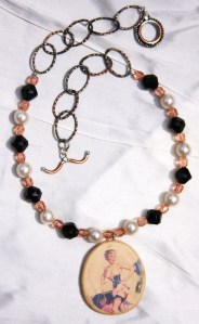 Necklace made with hammered oval chain from Rings & Things