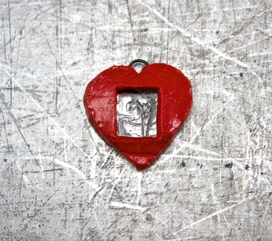 Window Into My Heart Polymer Clay Pendent by Suzann Sladcik Wilson