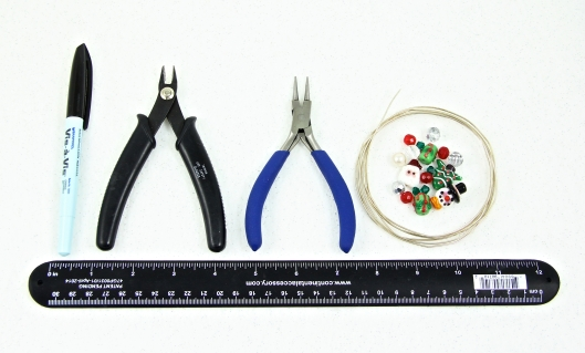 Tools and materials to create beaded ornament holders.