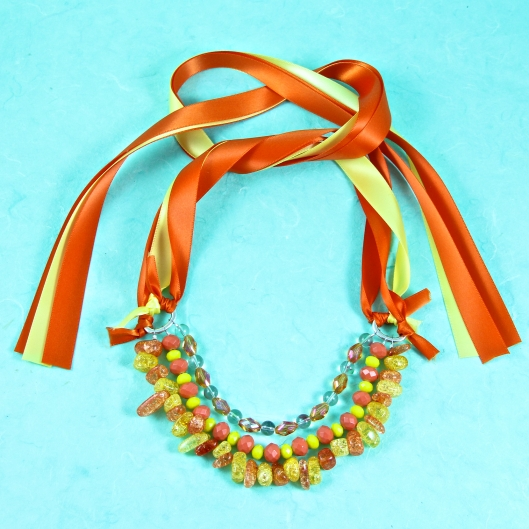 Sunshine Ribbon Necklace by Suzann Sladcik Wilson using Offray Ribbon