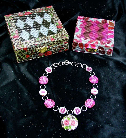 Pink Diamonds and Kisses Necklace and Boudoir Jewelry Boxes by Suzann Sladcik Wilson